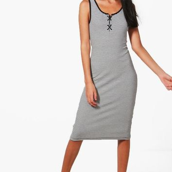 Jodie Lace Up Detail Striped Ribbed Dress | Boohoo