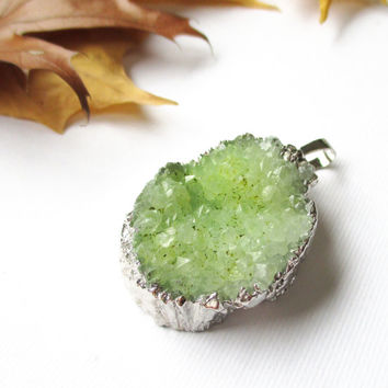 Green Druzy Drusy Dipped  in Silver Triangle Pendant,  Drussy Druzzy Gemstone Pendant With Loop, Select With Or Without Chain