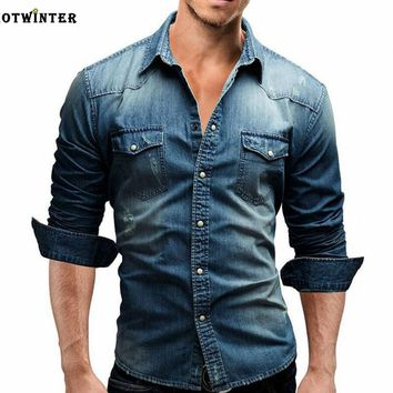 Tide brand men's slim long-sleeved shirt denim shirt Blue