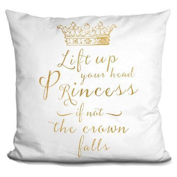 Lift Your Head Princess Crown Gold Pillow