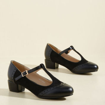 Anywhere You Tango T-Strap Heel in Noir | Mod Retro Vintage Heels | ModCloth.com