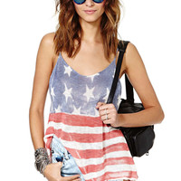 American Flag Strappy Backless Tank Top