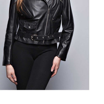 Handmade women black leather jacket, women belted biker leather jacket collar, biker leather jackets, real leather jackets