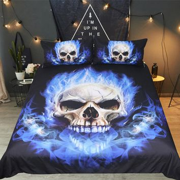 Drop shipping Boys Bedding Sets  Digital Printing Skull Bedding Set Duvet Cover  Queen King 3D Printed Skull flame Blue Fire