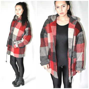 BUFFALO check plaid wool jacket vintage 80s 90s GRUNGE long oversized HOODED woodland lumberjack winter coat os