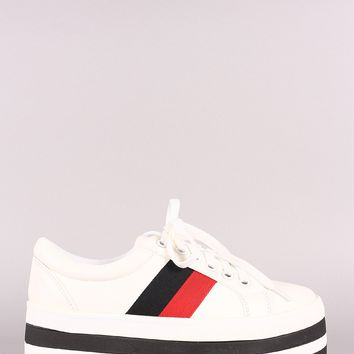 Striped Lace-Up Flatform Sneaker