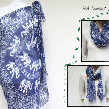 Size Plus Tunic, Boho Kimono, Boho Scarf Printed, loop blue wrap, Resort Cover Up, Blue Sarong Beach, Blue Navy Plus Size, Tropical Scarf