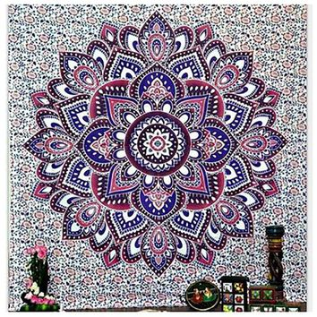 LMF9GW 150cmx210cm Bohemian Hippie Wall Tapestry Elephant Carpet Colored Printed Decorative Indian Mandala Tapestry Beach Towel Shaw