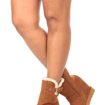 Tan Faux Suede Ankle Hidden Wedge Boots