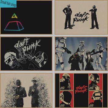 Daft Punk Home Furnishing decoration Kraft acid rock music Poster Drawing core Wall stickers