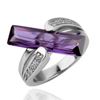 18K White Gold Plated Amythest Purple Cubic Zirconia Rectangle Accent Cross Shaped Ring