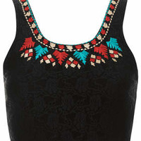 Folk Embroidered Bralet - Black