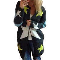 Autumn Cardigans Stars Pattern Print Casual Fashion Women Long Sweaters Loose Warm Knitted Cardigans Long Sleeve Warm Outwears