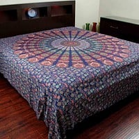 Floral Peacock Mandala Print Cotton Bedspread Tapestry Tablecloth Throw King