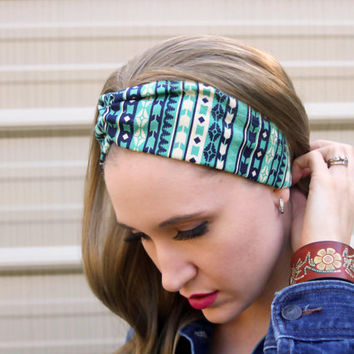 Native Beauty Vintage Headband: Retro Style Band, Native Southwestern Faux Head Wrap for Adults, 100% Cotton Fabric