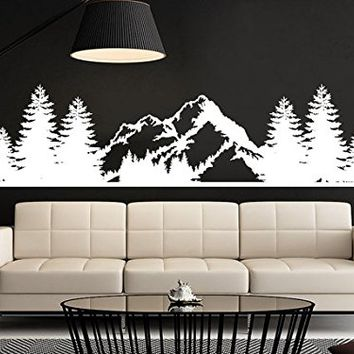 Mountains Wall Decal Forest Landscape Nature Pine Trees Vinyl Sticker Decals Home Decor Bedroom Art Design Interior NV22 (7x28)