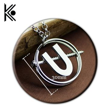 Ghostbusters U Necklace Pendant Cosplay & Halloween Costume the Silver Punk Necklace for Women