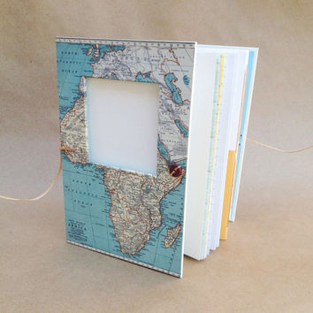 Personalized Travel Journal with Map of Africa - Notebook with Pockets and Envelopes - Mission Trip Journal - Adoption Book