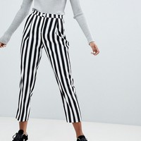 Monki Stripe Slim Casual Trousers at asos.com