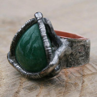 emerald ring, signet ring, emerald signet, men ring, green mens ring, pagan ring, copper band, ancient handmade ring, adjustable ring