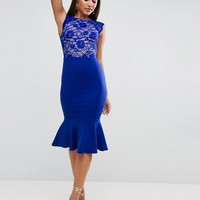 ASOS Lace Top Open Back Pephem Midi Dress at asos.com