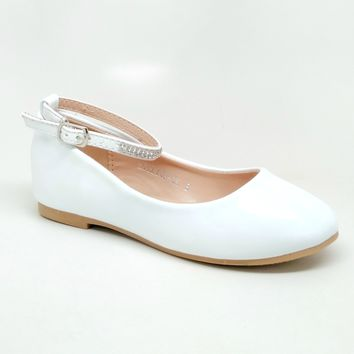 Girl's White Shiny Flats with Rhinestones Detail and Buckle
