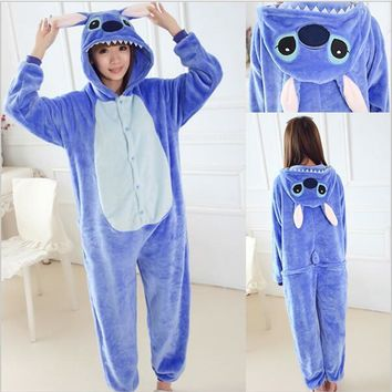 Lilo And Stitch Stitch Cosplay Winter Flannel Hoodie Pajamas Adult Blue Stitch Onesuit Cosplay Costume Stitch Pajamas