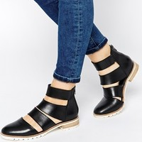 ASOS ALTERNATIVELY Cut Out Leather Ankle Boots