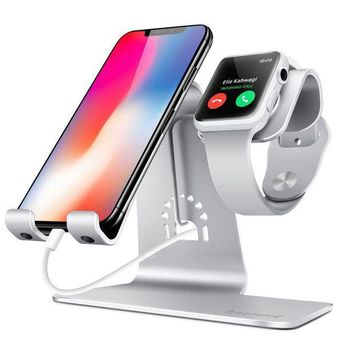 ICIK4S2 Bestand 2 in 1 Apple iwatch Charging Stand Holder& Phone Desktop Tablet Dock for Apple Watch/ iPhone X/8Plus/8/7 Plus/ iPad(Upscale Silver)