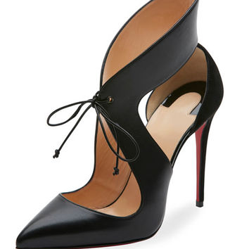 Christian Louboutin Ferme Rouge Self-Tie Red Sole Pump, Black