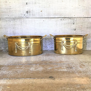Brass Planters 2 Brass Planter Small Planters Brass Wedding Decor Small Brass Vases Indoor Planters Outdoor Planter Brass Flower Pot
