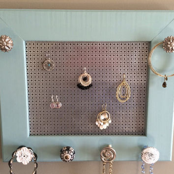 Earring frame, jewelry display and organizer, blue and silver