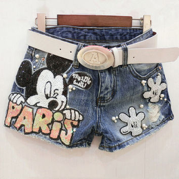 Cartoon Pattern Sequined 2016 Summer Women Novelty Harajuku Print Denim Shorts Hole Sexy Slim Beading Hot Shorts For Party B324