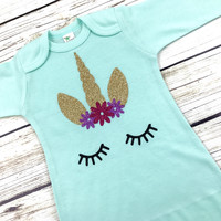 Unicorn Baby Gown {Mint or White}
