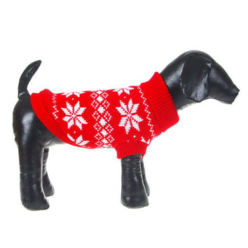 Dogs Clothing Winter Dogs Pet Xmas Snowflake Sweater Clothes Knit Coat Cozy Apparel XS-XXLWX