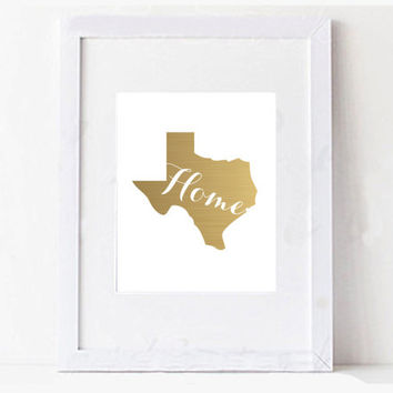 Texas Gold Foil State Digital Printable Typography Art