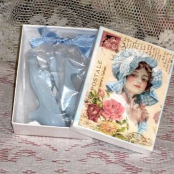 Lady in Blue Victorian Shoe Soap Favors in Gift Box
