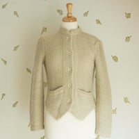 1980's Cream Knit Cardigan / Gold Metallic Sweater / Victorian Jacket / Small / 80's Vintage