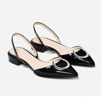 New Real Leather Pointy Toe Shallow Mouth Ankle Strap Sandal Womens Low Heel OL Summer Heels