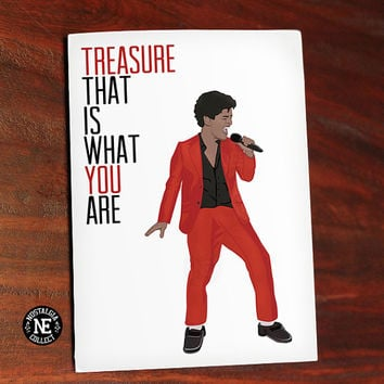 Bruno Mars - Treasure Lyrics Anniversary Love or Valentine's Day Greeting Card - 4.5X6.25 Inch Card