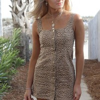 I'll Follow Leopard Button Mini Dress