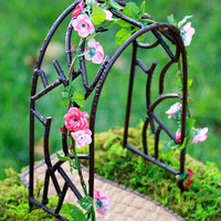 Fairy Garden Arbor miniature accessories with with rose garland