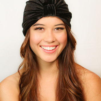 Velvet Black Full Turban Headband Headwrap Ear Warmer