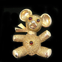 Teddy Bear Pendant on 15 Inch Chain, Red Rhinestones, Goldtone Teddy Bear, Pendant or Pin, Vintage Jewelry, Birthday Christmas Gift for Girl