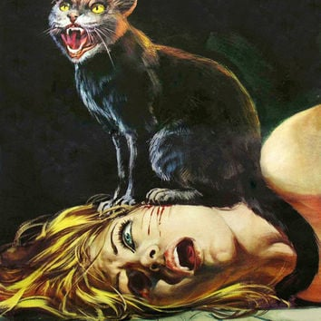Black Cat Horror Print • 8x10 Wall Art • High Quality Giclée Print Cat Lady /Horror Movie Poster