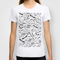 Cute horror halloween cartoon pattern T-shirt by Nick Greenaway