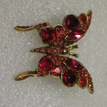 "Vintage Gold Tone Red Rhinestone Butterfly Brooch signed Pell, 1.75"", Mid-Century"