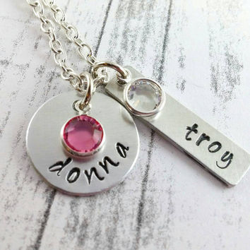 Personalized Name Necklace Mother of two 2, Couple Jewelry Two Handstamped Names Hand Stamped Customized Jewelry Item N#77