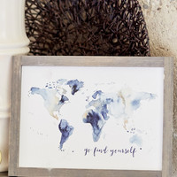 Go Find Yourself World Map Framed Wall Art - Gifts/Home Decor