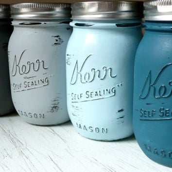 The Ocean - Dorm, Office or Home Decor Painted and Distressed Shabby Chic Mason Jar Vases -  - Pencil Holders